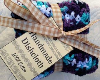Crochet Cotton Dishcloth gift set of 3, purple mix and white