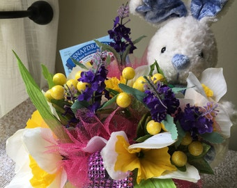 Easter Bunny Bouquet with Stuffed Bunny & Packet of Flower Seeds