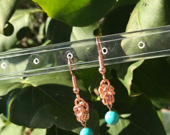 Chainmaille Earrings, Turquoise Earrings, copper earrings, chainmail earrings