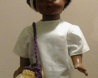 Purple daisy hat and purse