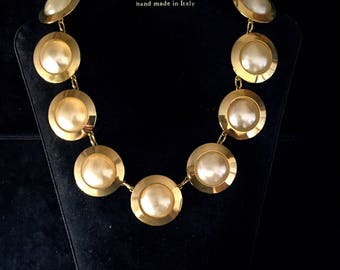 Handmade golden brass necklace and earrings in the 1980s