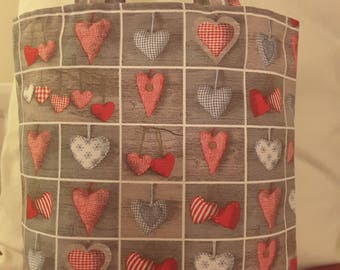 Red hearts cotton tote bag/valentines gift/handmade bag/red/grey/hearts bag/gift for her