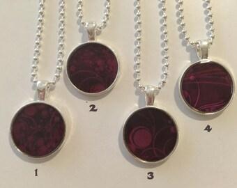 Purple resin pendant necklace