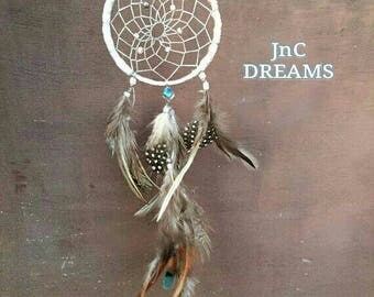 White turquoise Car Dream Catcher White Car Rear Mirror Dreamcatcher Small wall decor wall hanging