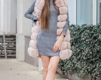 Long Light Pink Fox Fur Gilet