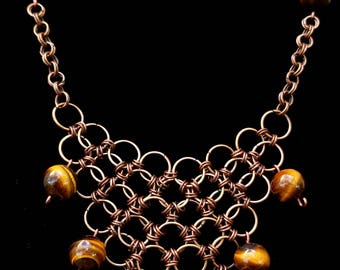 Tiger's Eye Chainmaille Necklace