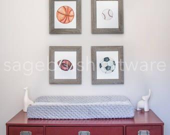 Digital Sports Nursery Art - Baby Gift - Digital Sports Prints - Childrens Art - Girls Room Decor, Boys Room Wall Art - Watercolor Prints