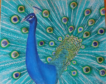 Oil Painting peacock with glass stones