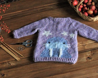 Hand-knitted Baby Sweater with funny Walrus, Soft and Warm, 100% Baby Alpaca Wool