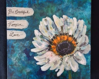 Inspired Cape Daisy 10x10x2 Acrylic Painting