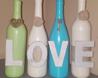 Love Wine Bottles - home decor - wine bottle decor - wine bottle crafts - mantle decoration - centerpiece