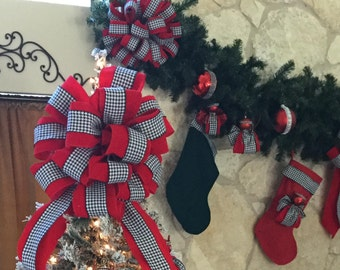 Alabama Houndstooth Bows and Treetoppers