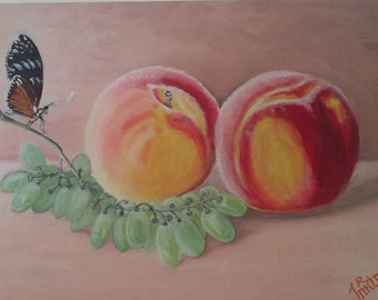 Sunshine peaches, grapes and butterfly