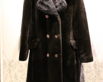Faux Fur Peacoat - Black Faux Fur Coat - Sz M