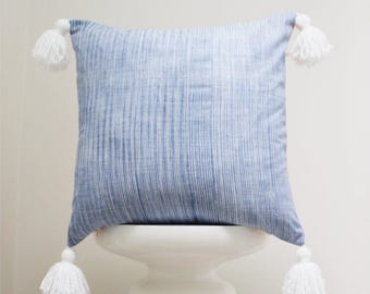 authentic India handmade pillow cover striped blue and white decorative throw pillow print pattern bohemian boho cushion cover tassels