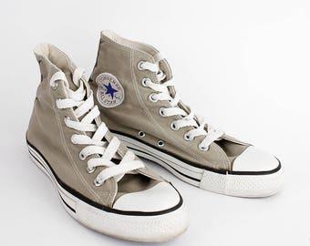 EU 38 - light brown USA Converse All Star - beige gray canvas hi top Chuckies size uk 5.5 / US men 5.5 + womens 7.5 - chuck taylor allstars