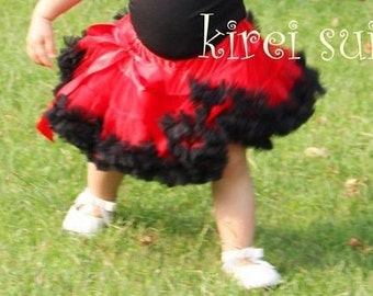 CLEARANCE BOUTIQUE Red and Black Pettiskirt Birthday Tutu Size 2-3t