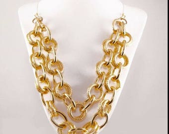 Gold links statement necklace