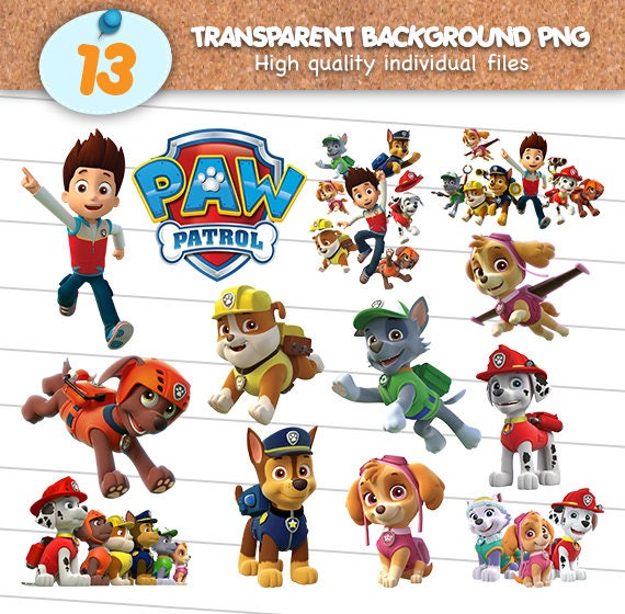 Paw Patrol Clipart Files PNG Cliparts With Transparent Background Scrapbook Images Digital Download