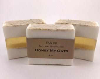 Oatmeal and Honey Soap / Oatmeal Soap / Honey Soap / Natural Soaps / Handmade Soaps / (RAW - Honey My Oats)