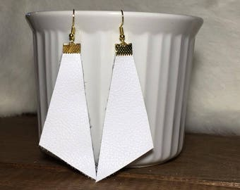 White dangle leather earrings