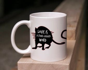 Cute Rat Mug - Love Is A Four-Legged Word - 11 Ounce Coffee & Tea Mug Perfect Gift for Rat Owners Lovers Valentine's Day