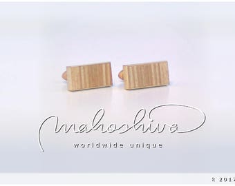 wooden cuff links wood alder maple handmade unique exclusive limited jewelry - mahoshiva k 2017-83