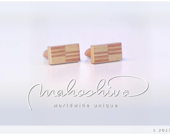 wooden cuff links wood flamed maple maple handmade unique exclusive limited jewelry - mahoshiva k 2017-28