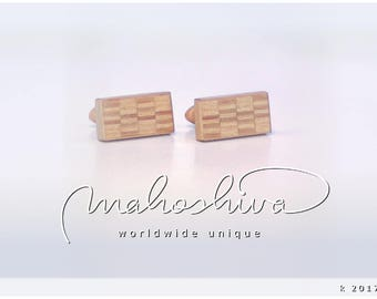 wooden cuff links wood alder maple handmade unique exclusive limited jewelry - mahoshiva k 2017-42