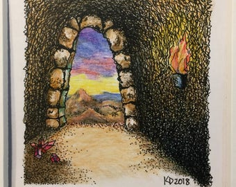 Neverland - Original Pen Ink & Watercolor Tiny Arches