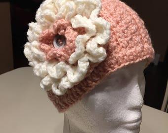 Handmade Crochet Headband/Ear Warmer with Flower