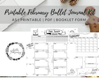 Printable February Bullet Journal Kit