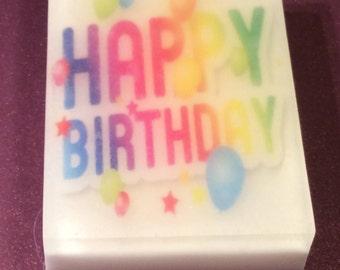 Handmade organic soap/happy Birthday image soap/picture soap