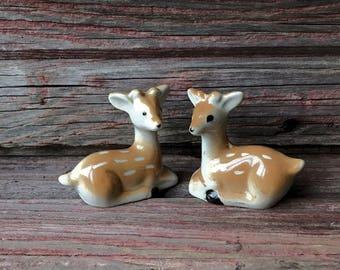Castle Rock Michigan UP Tourist Ceramic Deer Salt and Pepper Shakers