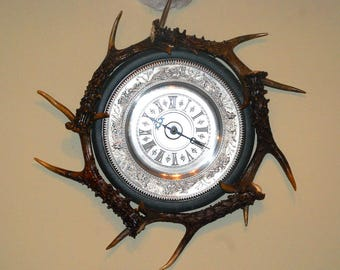 "Wall clock with horns of roe deer  ""Hunting"""