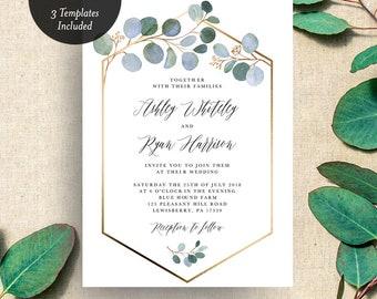 INSTANT DOWNLOAD Blue Eucalyptus Wedding Invitation Printable