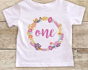 Birthday age one two three four or five with flower border design - first baby bodysuit or second third fourth or fifth Birthday Shirt Gift