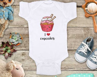 I Love cupcakes cute kawaii graphic cake Baby one piece bodysuit Toddler Youth Shirt - baby shower gift surprise