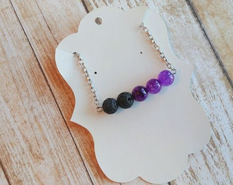 Essential Oil Diffuser Necklace, Lava Stone Necklace, Beaded Necklace, Aromatherapy Jewelry, Crystal Necklace, Gift For Her