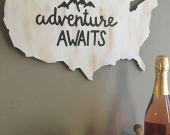 """Adventure Awaits Sign on United States Wood Plaque 