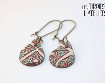 Earrings sleepers bronze drops, geometric, ethnic, Bohemian, boho, unique, colorful, psychedelic
