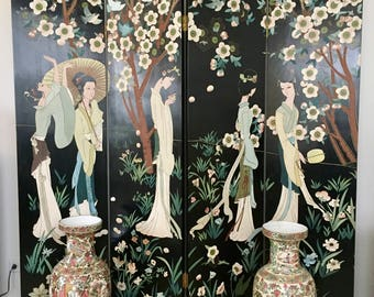 Vintage Asian Room Divider Chinese 4 screen black lacquer Hand Painted Coromandel Women flowers oriental