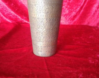 Original Antique Beautiful Hand Carved Ottoman Art Style Copper Tumbler Glass # KB1