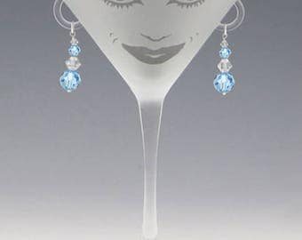 Lola Martini Glass - Handmade Aquamarine Swarovski Earrings - great girlfriend glass, bridesmaid glass, or my own special glass!