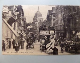Vintage Postcard UK Postcard London England Fleet St Postcard