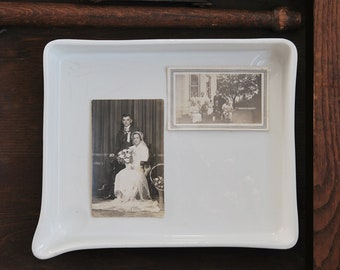 "Antique White Royal Semi Porcelain Darkroom Photographic Developing Tray 11.5"" x 9.5"", Vintage Film Photo Equipment"