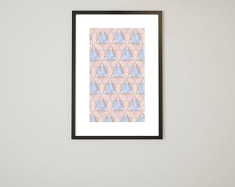 Pink Patterned Geometric Print - Instant Download