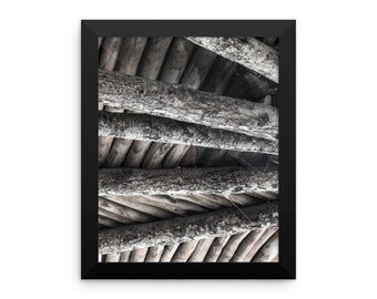 Black And White Wood Abstract Photographic Framed Poster