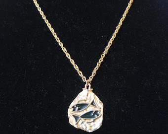 Pisces Zodiac Pendant- ART Jewelry- Enamel Necklace- Plique-a-jour Enamel- Fish Jewelry- March Birthday Gift- Green Jewelry- 1970's Necklace