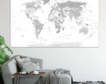 Detailed world map etsy large detailed world map wall art with countries names canvas print large grey world map home gumiabroncs Image collections